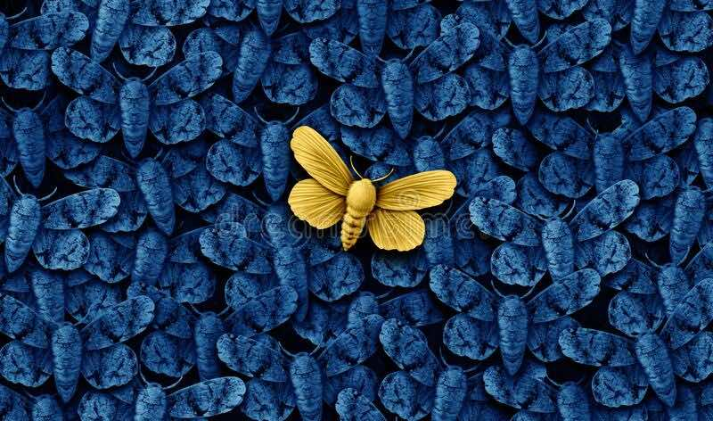 Yellow Butterfly among all blue