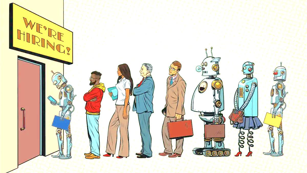 Humans lining up for Job interview - A dystopian Future